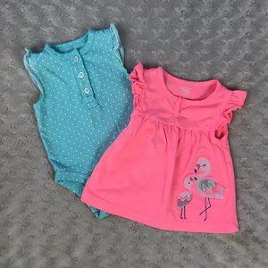 Carter's Baby Girl Bundle Flamingo Shirt Blue Dots